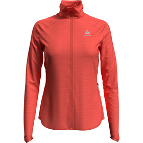 Odlo Steam Midlayer Doorlopende Rits Dames, hot coral melange